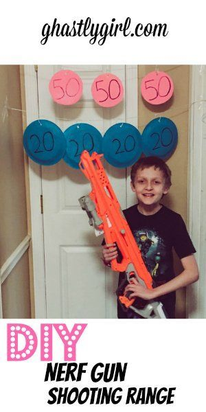 This DIY nerf gun shooting range is the perfect indoor upcycled DIY project  for kids and