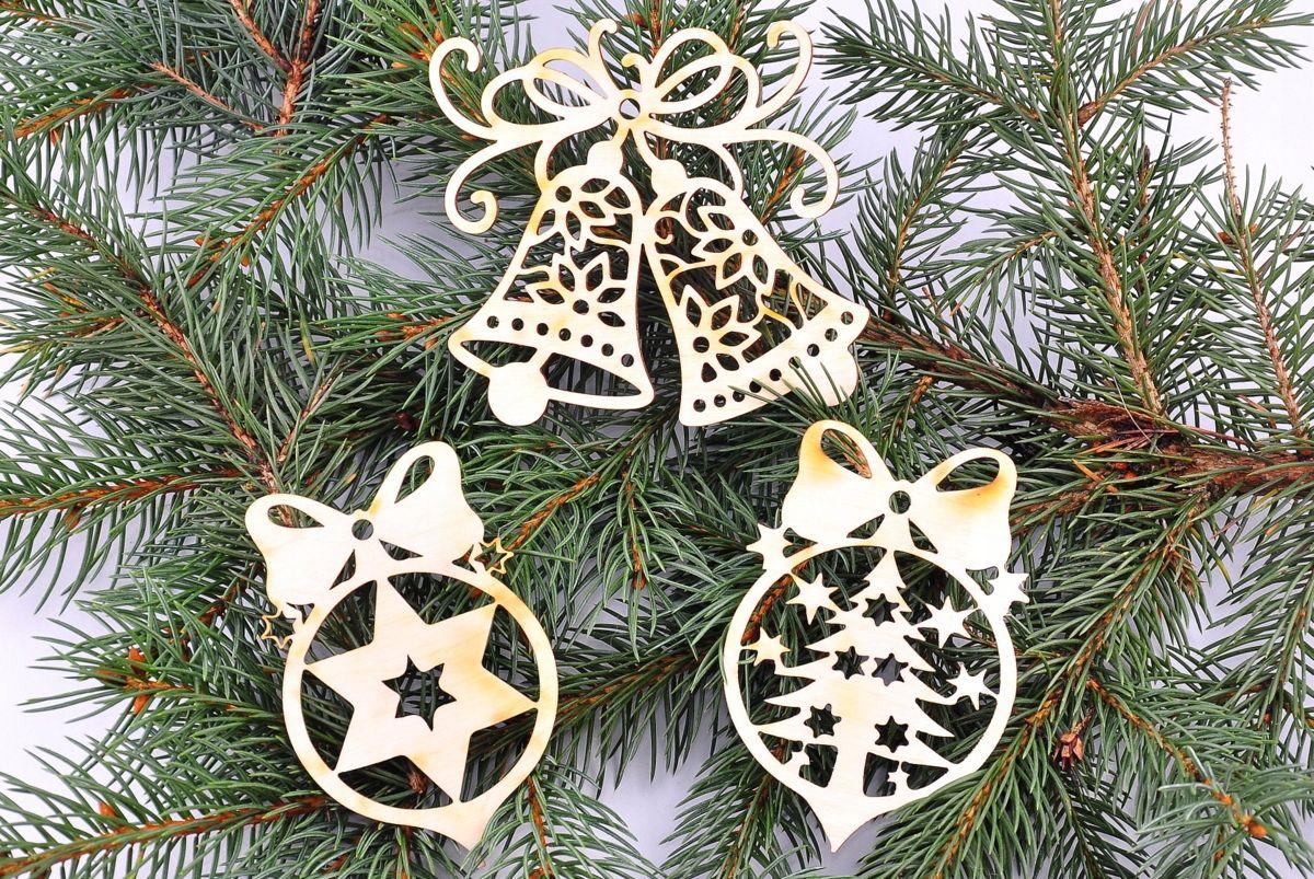 Zestaw Bombek Bombki 3szt Gwiazdka Choinka Dzwonek 7646947664 Oficjalne Archiwum Allegro Christmas Ornaments Wooden Christmas Decorations Christmas Tree Decorations