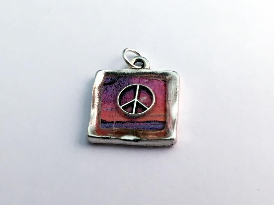 Square pewter sunset sterling silver peace sign pendant resin square pewter sunset sterling silver peace sign pendant resin world peaceful aloadofball Image collections