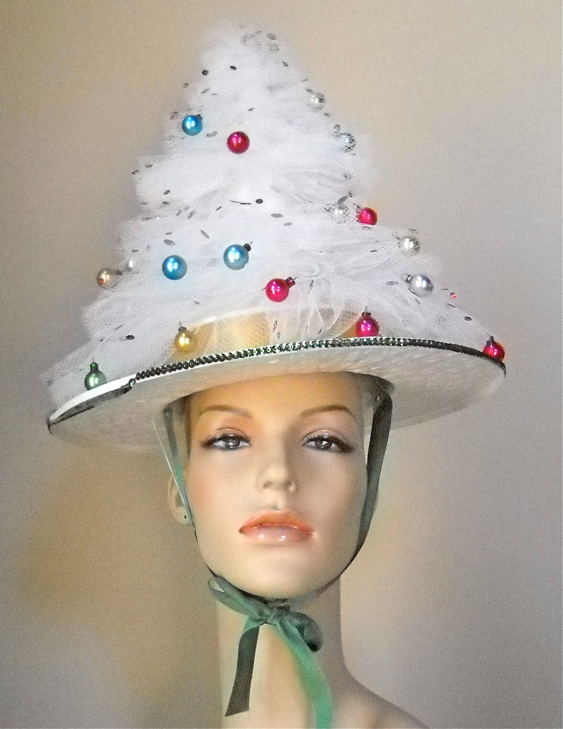 vintage handmade christmas tree party hat via