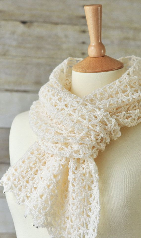 Spring lace crochet scarf wool white accessories by woolnwhite ...