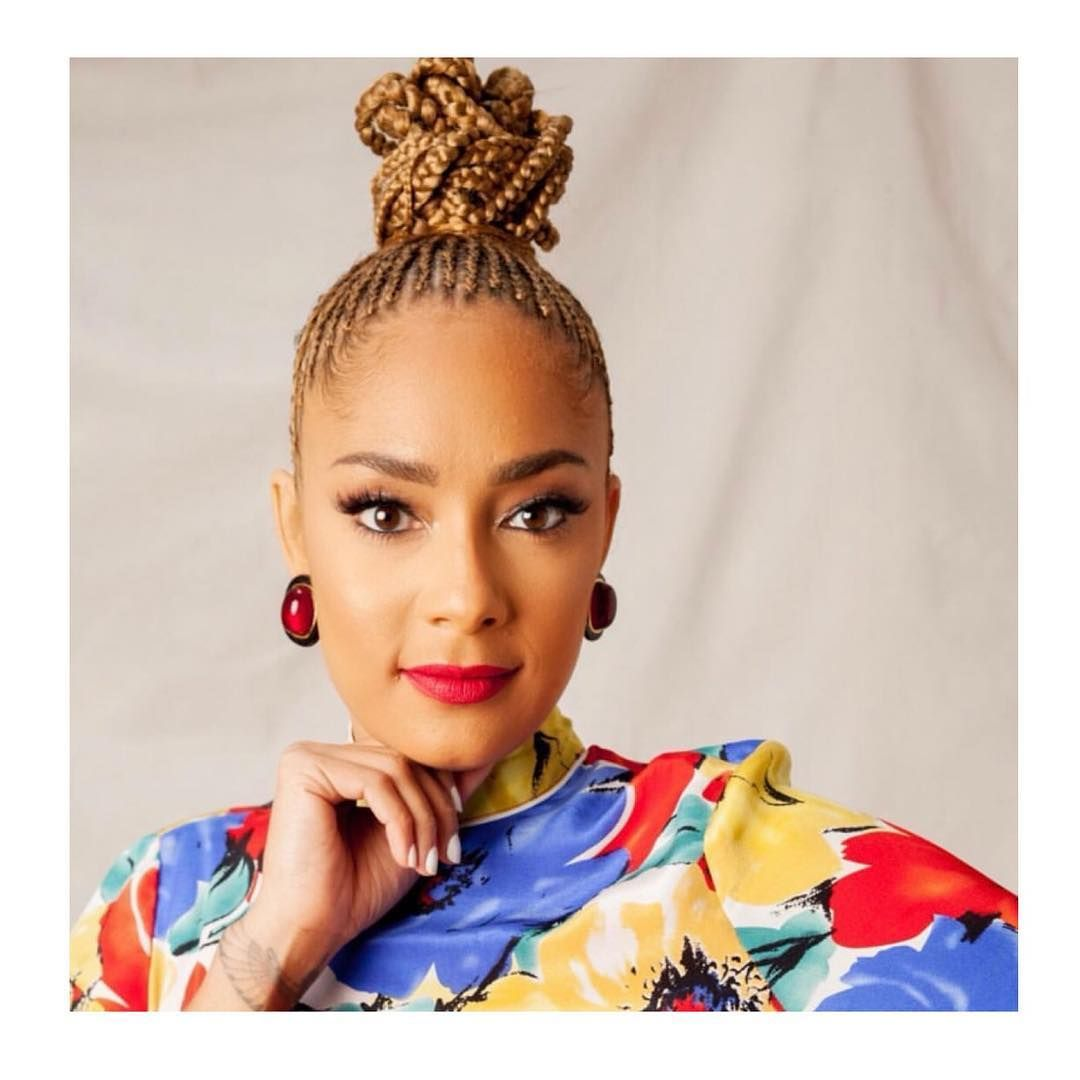 "Fashion Bomb Hair on Instagram: ""Amanda Seales Stuntin' inna Playful Braided Top Knot and Poppin' Red Lips. �. - Have you seen her @hbo special 'I Be Knowin'? - What were…"""