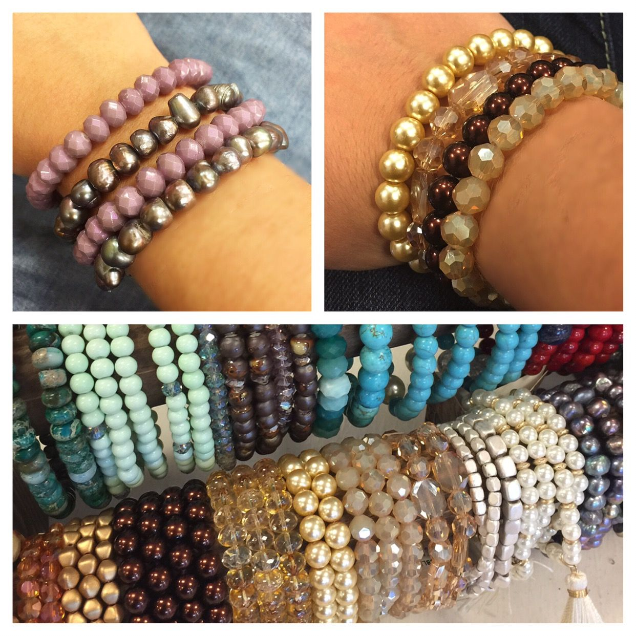 Create your own stack!!! We have lots of beautiful bracelets to do just that with!!! @ Tree of Life Supplements, Gifts & More  #stackbracelets   treeoflifesgm@yahoo.com