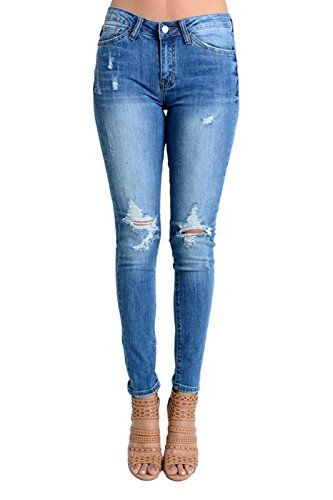587a15ef10e Women s Mid Rise Destroyed Skinny Jeans KC6012