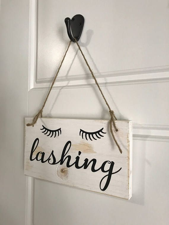 Lashing Wood Sign | Eyelashes Sign | Salon Decor | Salon Wood Sign | Office Wood Sign | Bathroom Sign | Falling In Rustic | Vanity Decor #estheticianroomideas