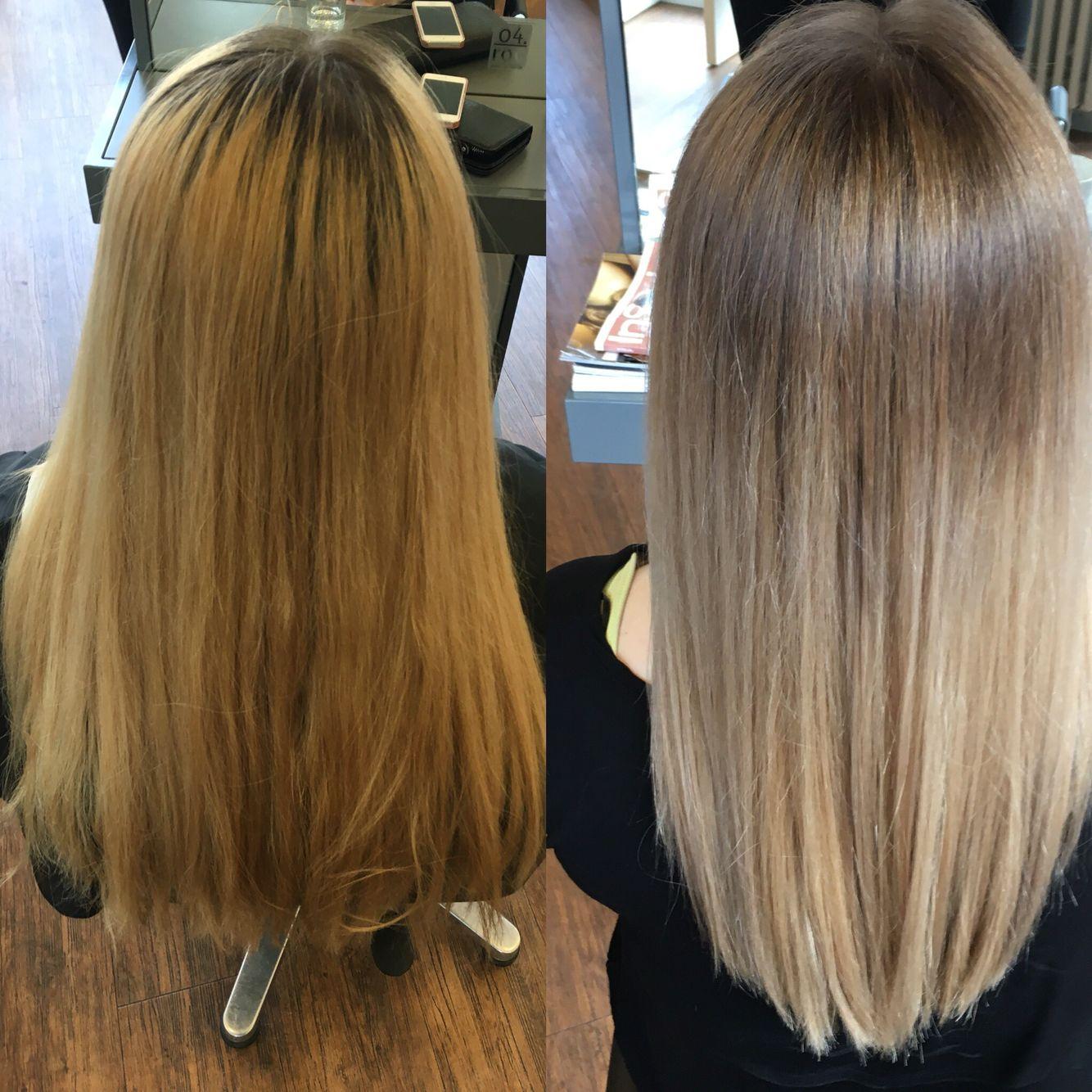 Ballayage Blond à olaplex loreal baleyage coolblonde blond no filter longhair vorher