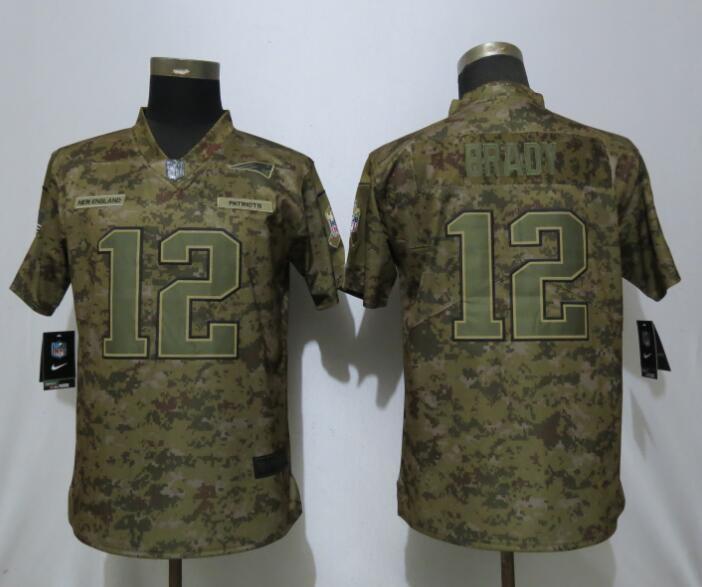 6b6cc4042 Women New England Patriots 12 Brady Nike Camo Salute to Service Limited NFL  Jersey