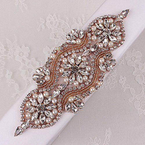 Wholesale Sewing on Rose Gold Crystal Rhinestone Beaded Sequin Applique  Wedding Dresses Bridal Sash Decorative Trim 676657b3d50d