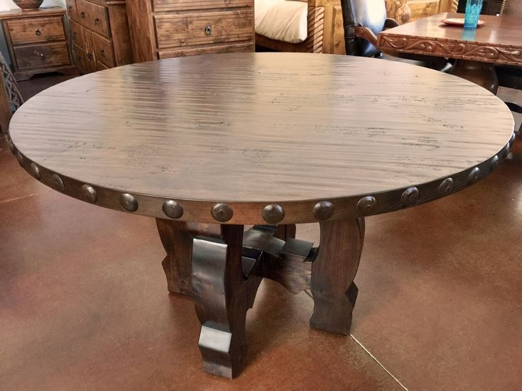 Rustic Knotty Alder Wood Round Dining Table With Clavos
