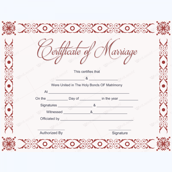 Formal Marriage Certificate Template Marriagecard Marriage