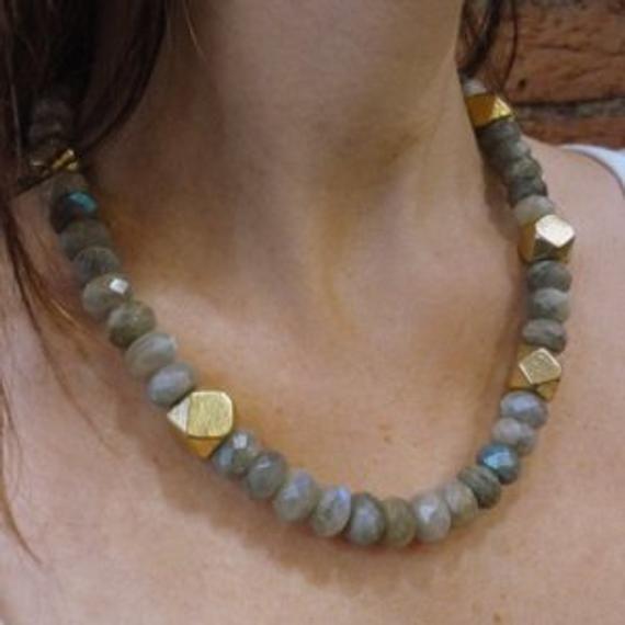 Photo of Labradorite Gemstones Necklace, Statement Necklace, Faceted Labradorite Gemstones, Grey and Gold Necklace, Labradorite and Gold Necklace.