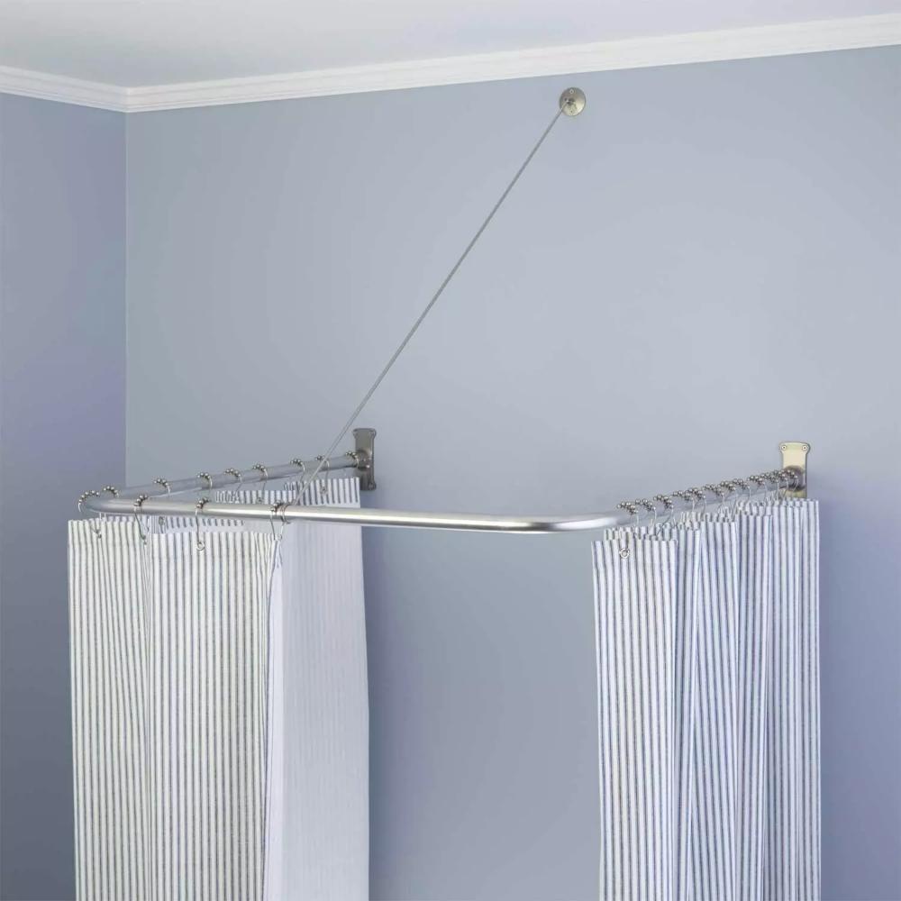 U Shaped Solid Brass Shower Curtain Rod Bathroom Shower