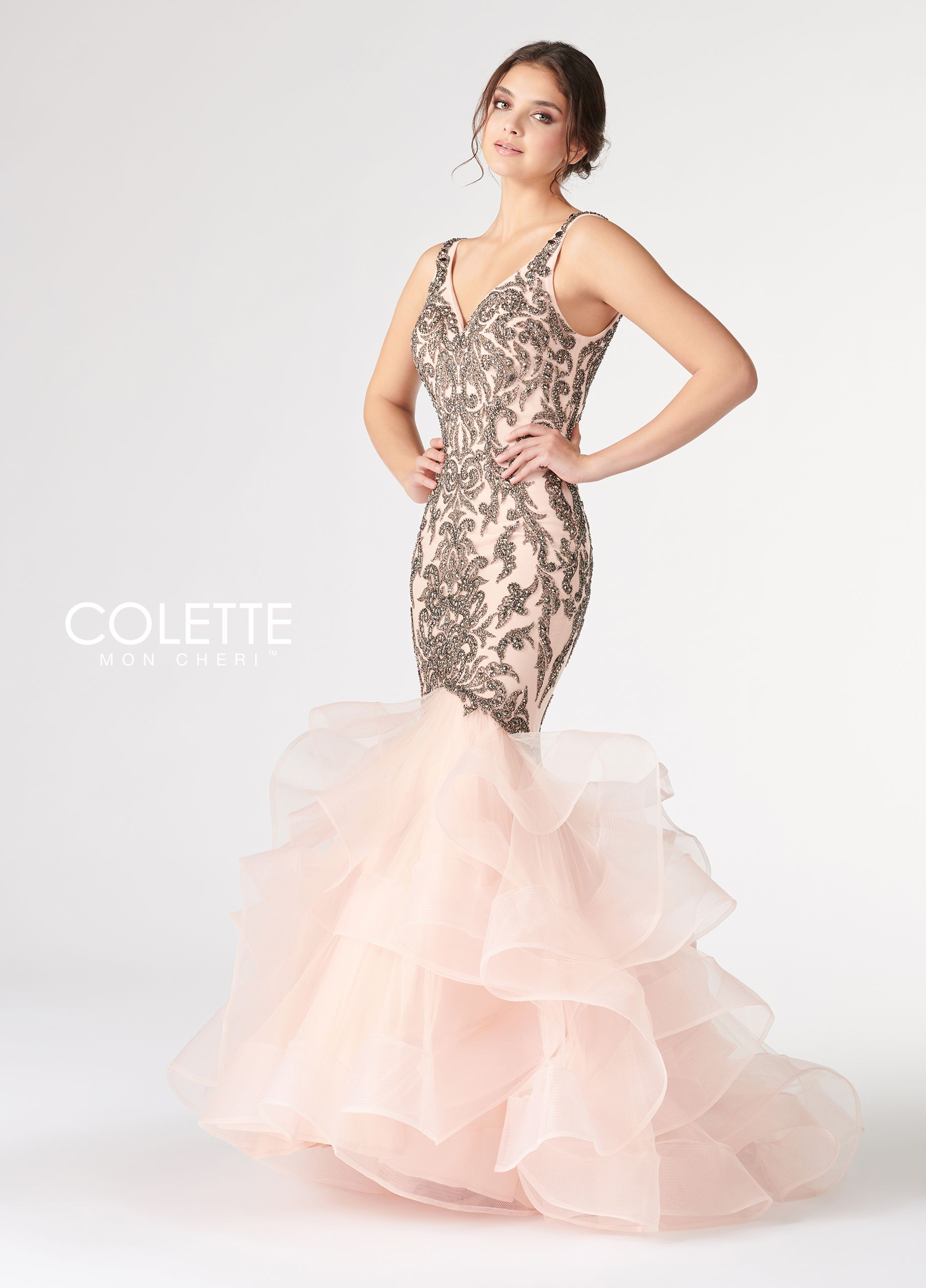 5b4b322e1 Colette for Mon Cheri CL19812 - Sleeveless beaded tulle mermaid gown with V- neck, thick straps, deep v back, back zipper, ruffled tulle with horse hair  ...