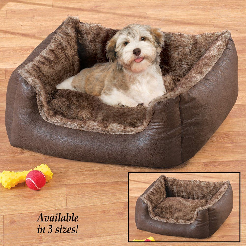 Faux Leather And Faux Fur Pet Bed Dog Bed Large You Can Find Out