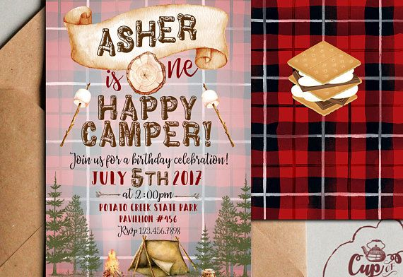One Happy Camper Invitation Camp Camping Invitations Birthday Parties