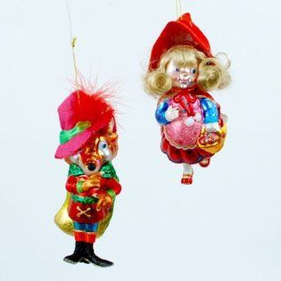 ONE HUNDRED 80 DEGREES -Red Riding Hood Big Bad Wolf Fairy Tale Christmas Holiday Ornament Set of 2