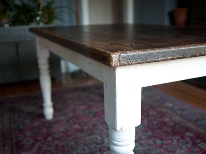 Farmhouse Dining Table With Dark Wood Top And Shabby White Legs