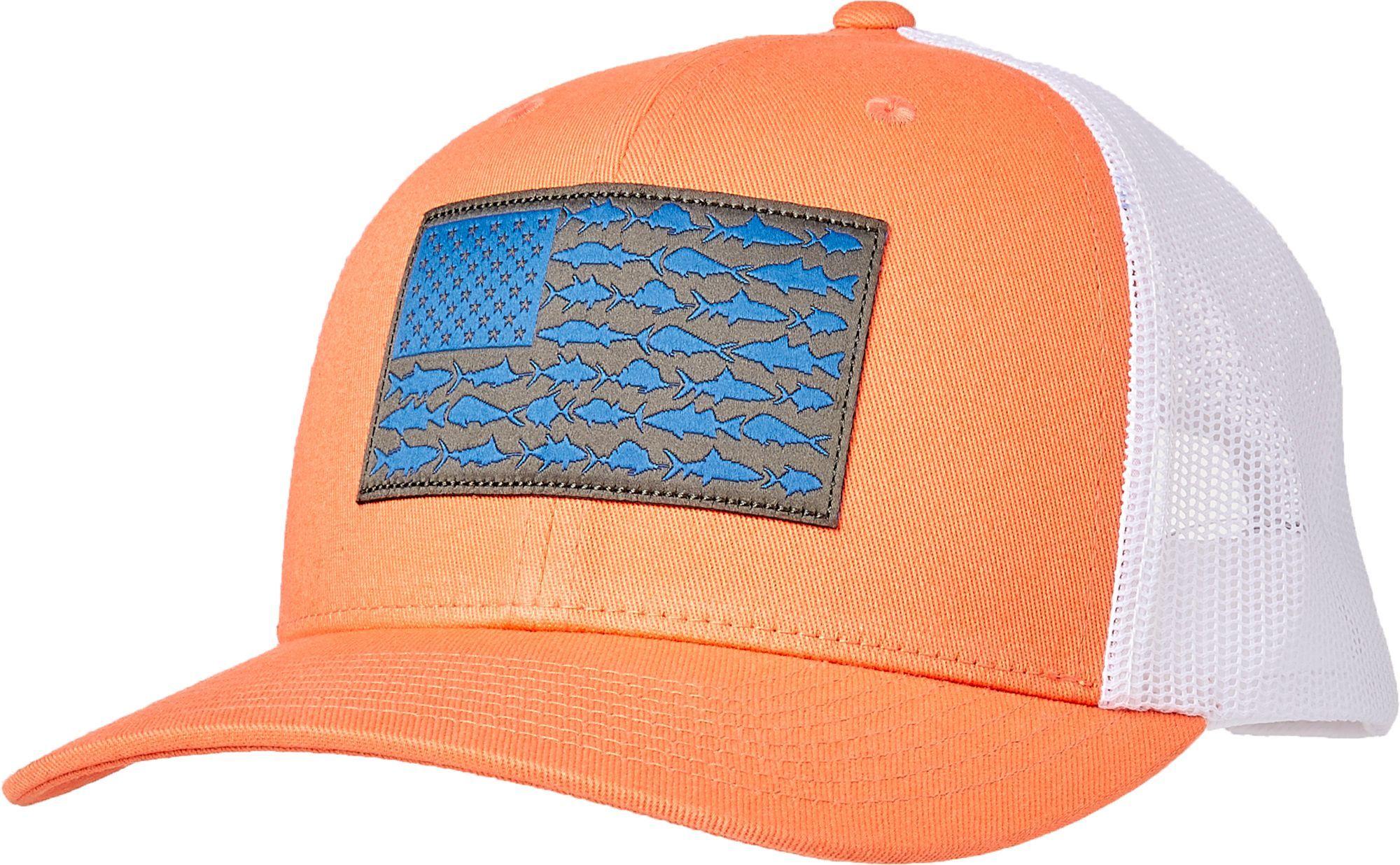 579494790497b3 Columbia Men's PFG Mesh Snap Back Cap, Bright Peach/Vivid Blue Fish Flag