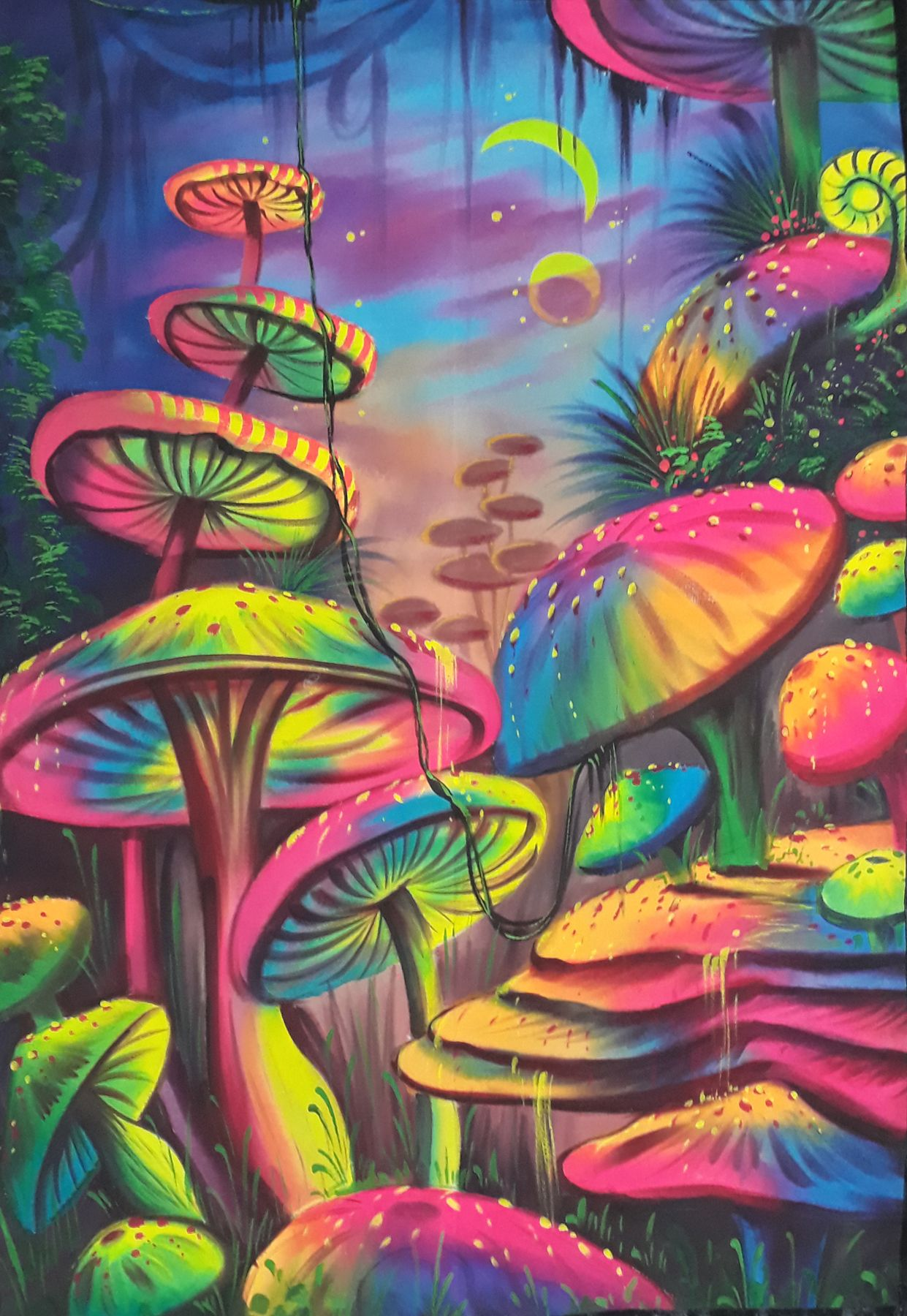 Mushrooms Fluorescent Painting Glow In Dark Uv Glow Painting Handmade Painting Psychadelic Art Trippy Painting Psychedelic Drawings