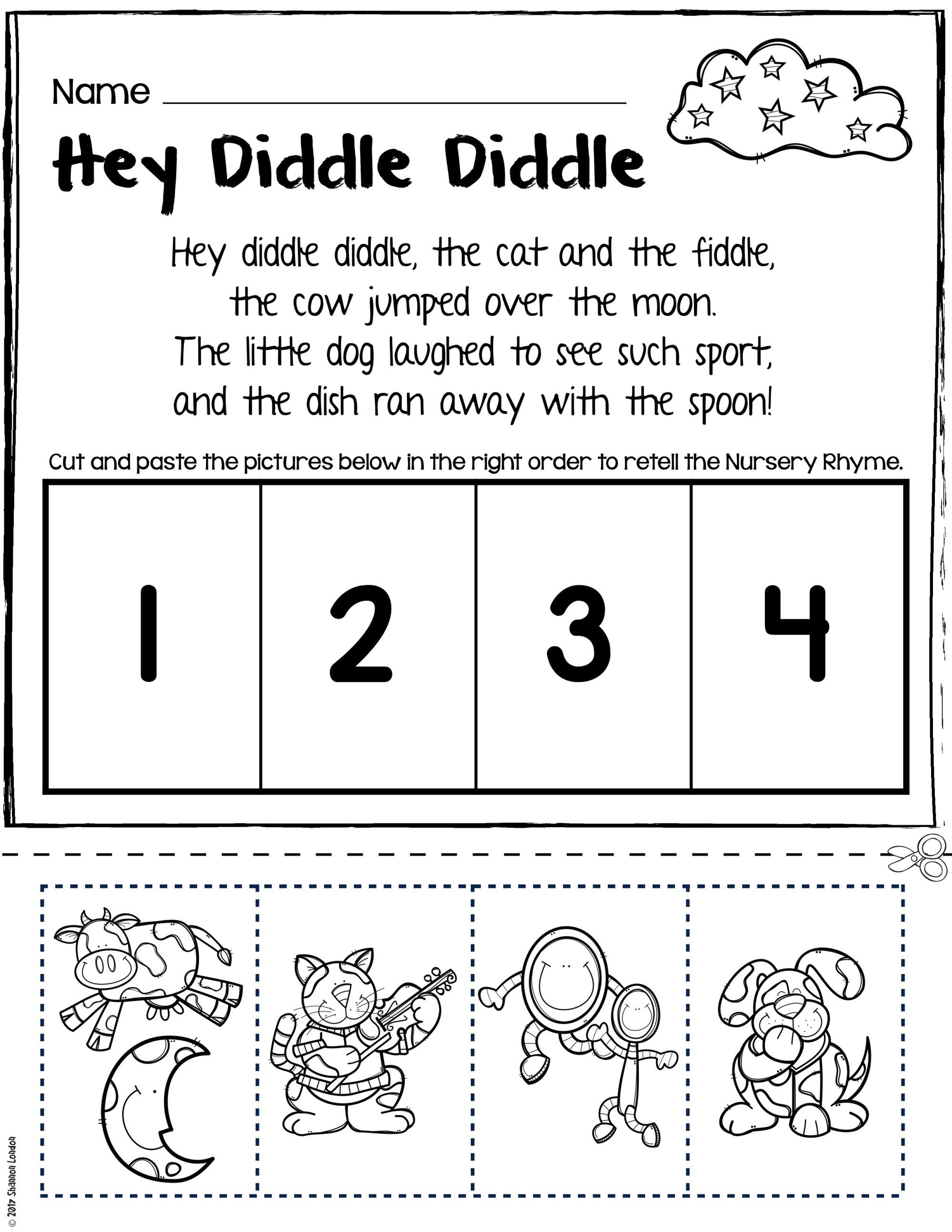 Nursery Rhymes Worksheets For Story Retelling Practice