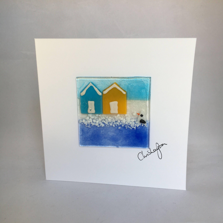 Fused glass greeting card handmade beach huts seaside birthday fused glass greeting card handmade beach huts seaside birthdaycard for kristyandbryce Gallery