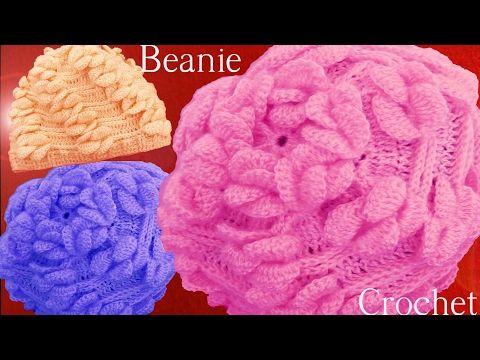 Como tejer a Crochet o Ganchillo gorro boina en punto de hojas ...