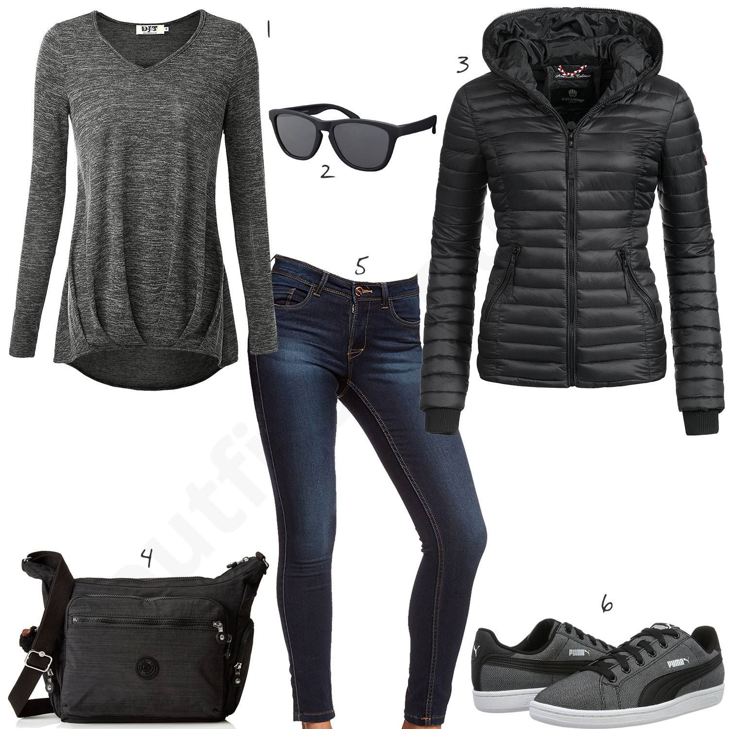 Schwarz Graues Outfit mit Navahoo Steppjacke (w0571 | for A