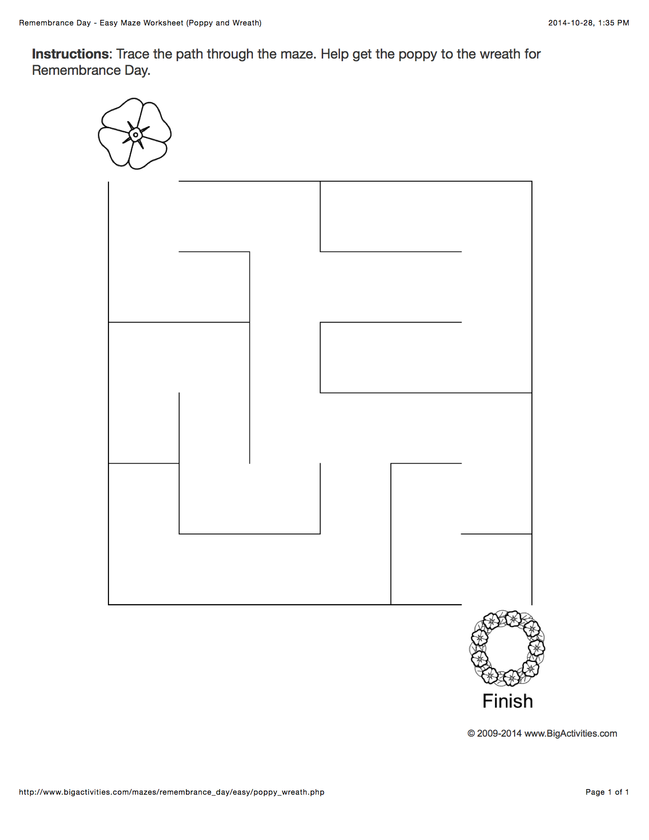 Remembrance Day Maze Worksheet With A Poppy And A Wreath