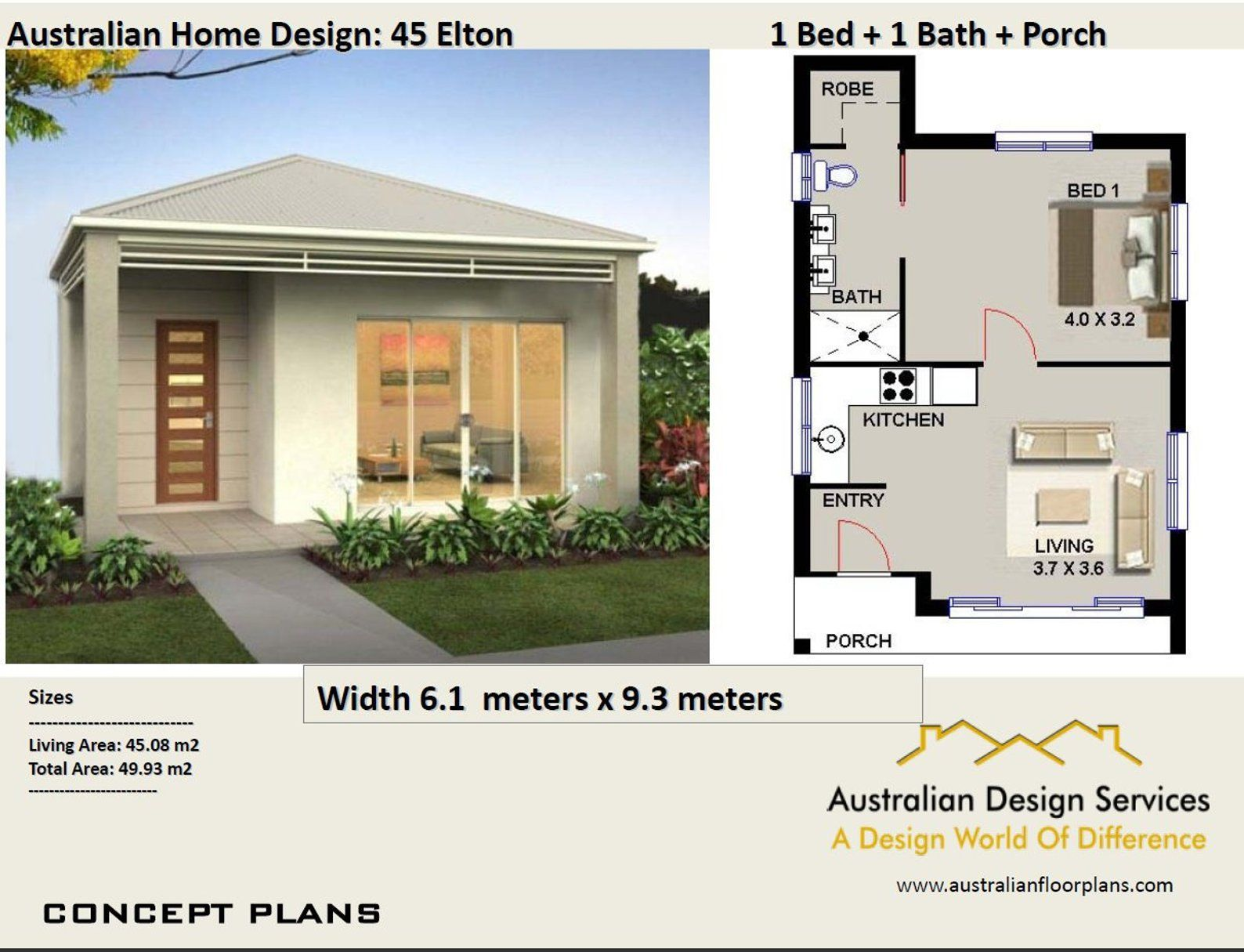 Small House Plan 45 Elton 537 Sq Foot 45 93 M2 1 Bedroom Etsy Tiny House Plans Small House Plans House Design