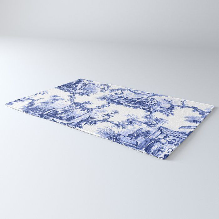 Blue Chinoiserie Toile Rug By The