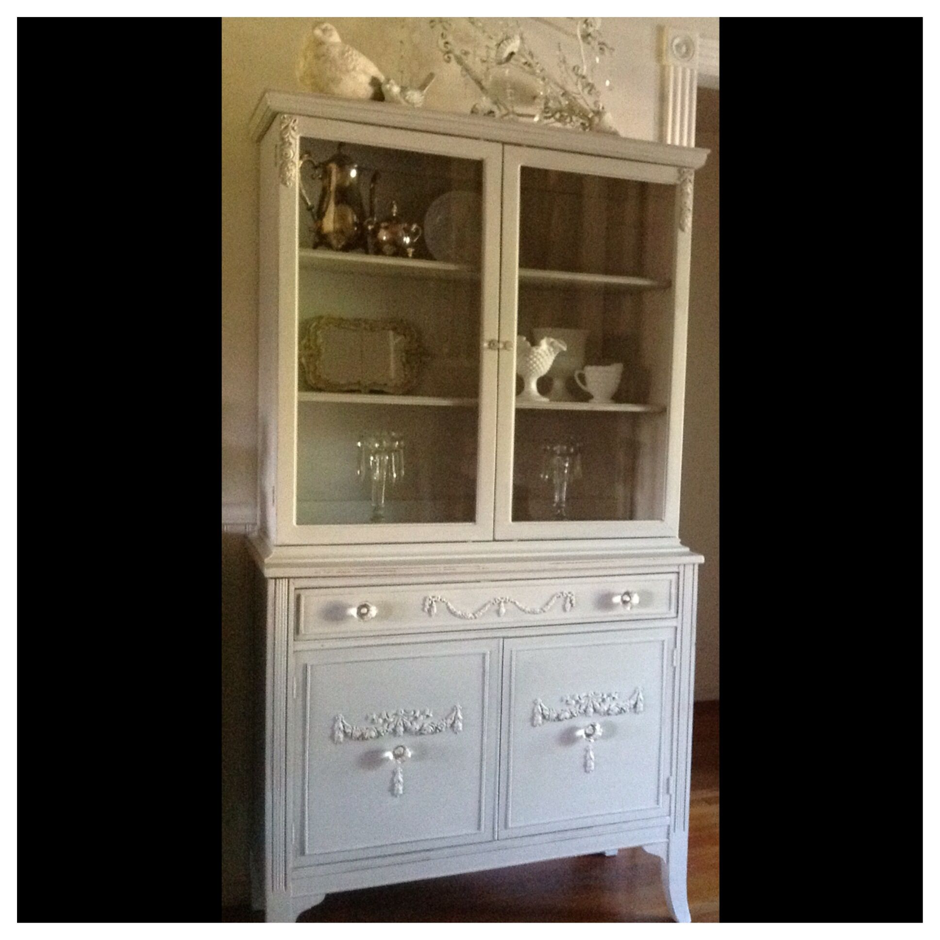 Beautiful French cottage china cabinet ASCP Paris grey appliqués