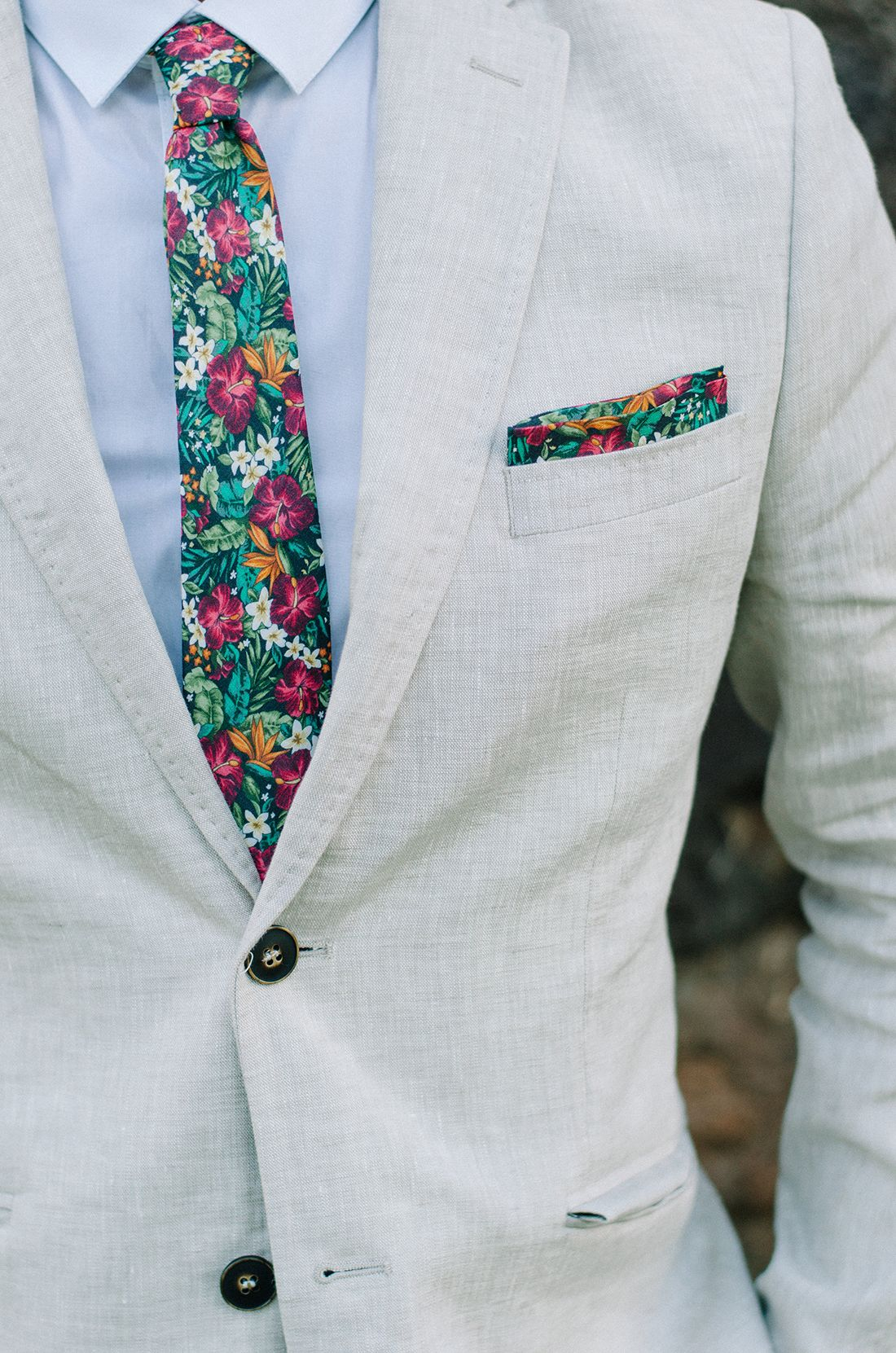 a365fbaf6314 Floral ties + pocket squares are perfect for island nuptials ...