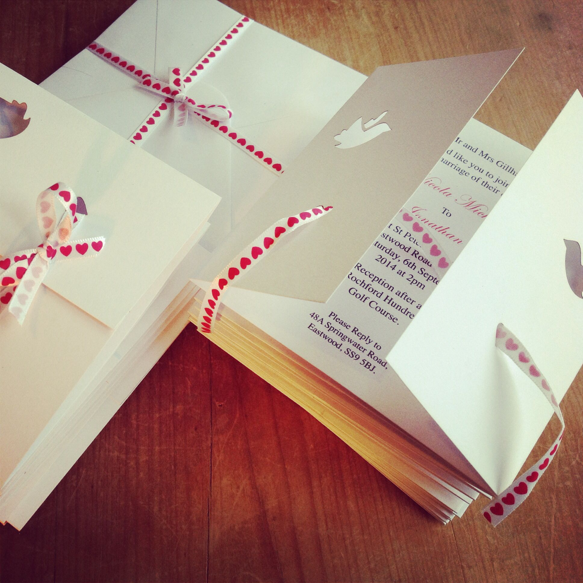 Red heart ribbon laser cut dove gatefold wedding invitations ...