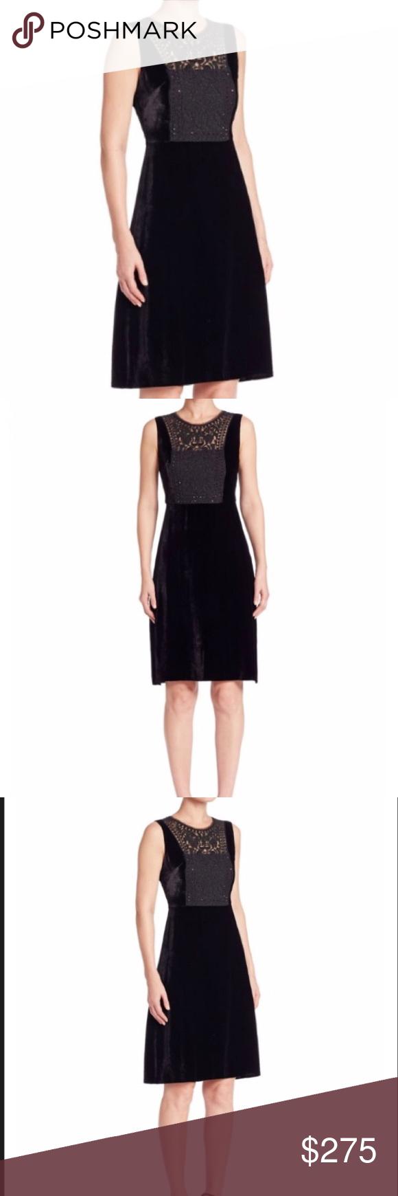 e7a31d995d19c Elie Tahari Jade Embellished Velvet Dress Velvet A-line dress with  embellished silk yoke.
