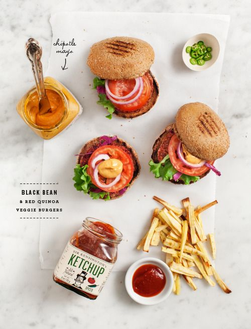 (via black bean & quinoa burgers | Love and Lemons) (A collection of vegan recipes)