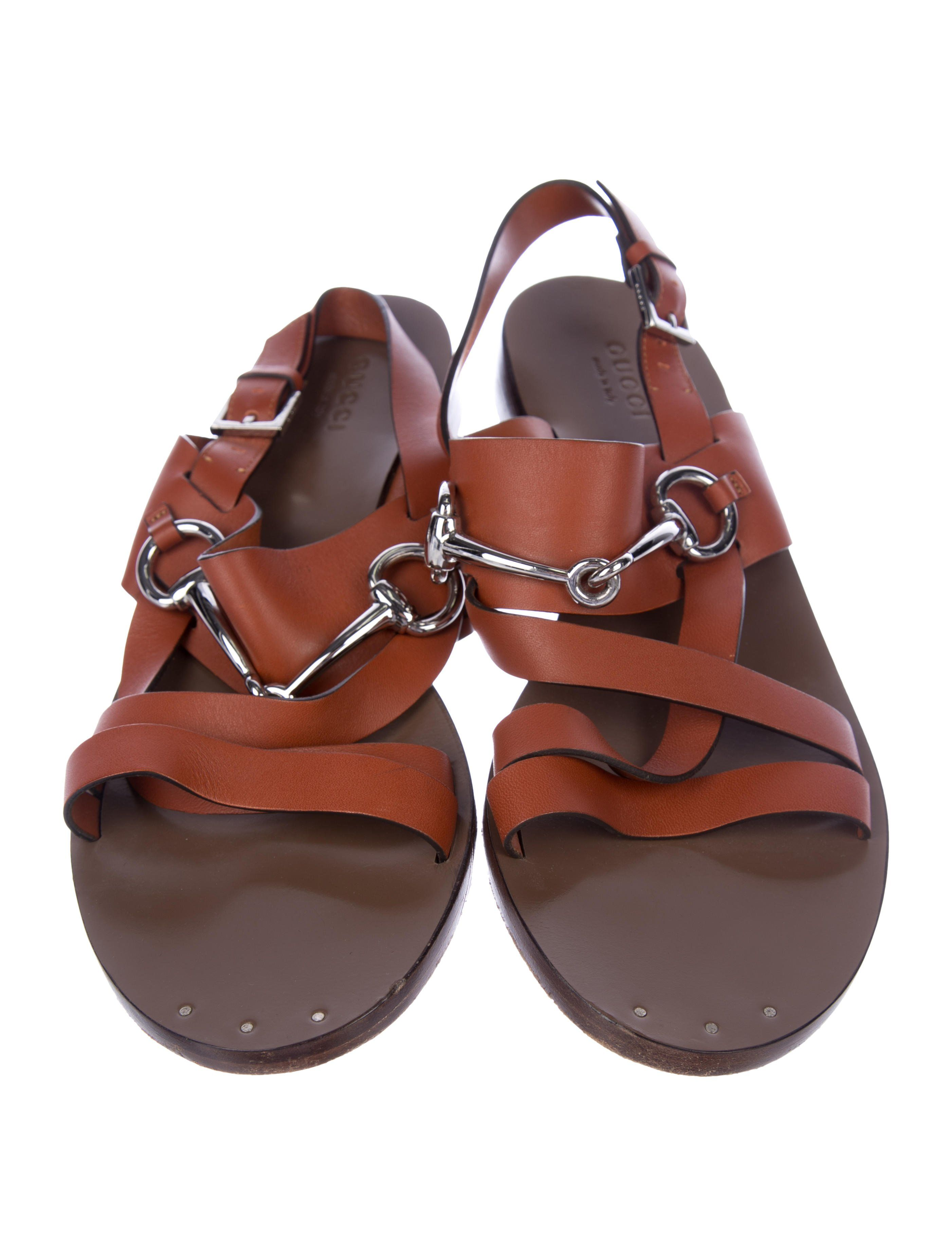 8969c78d5 Cinnamon leather Gucci slingback sandals with silver-tone horsebit  embellishments at vamps