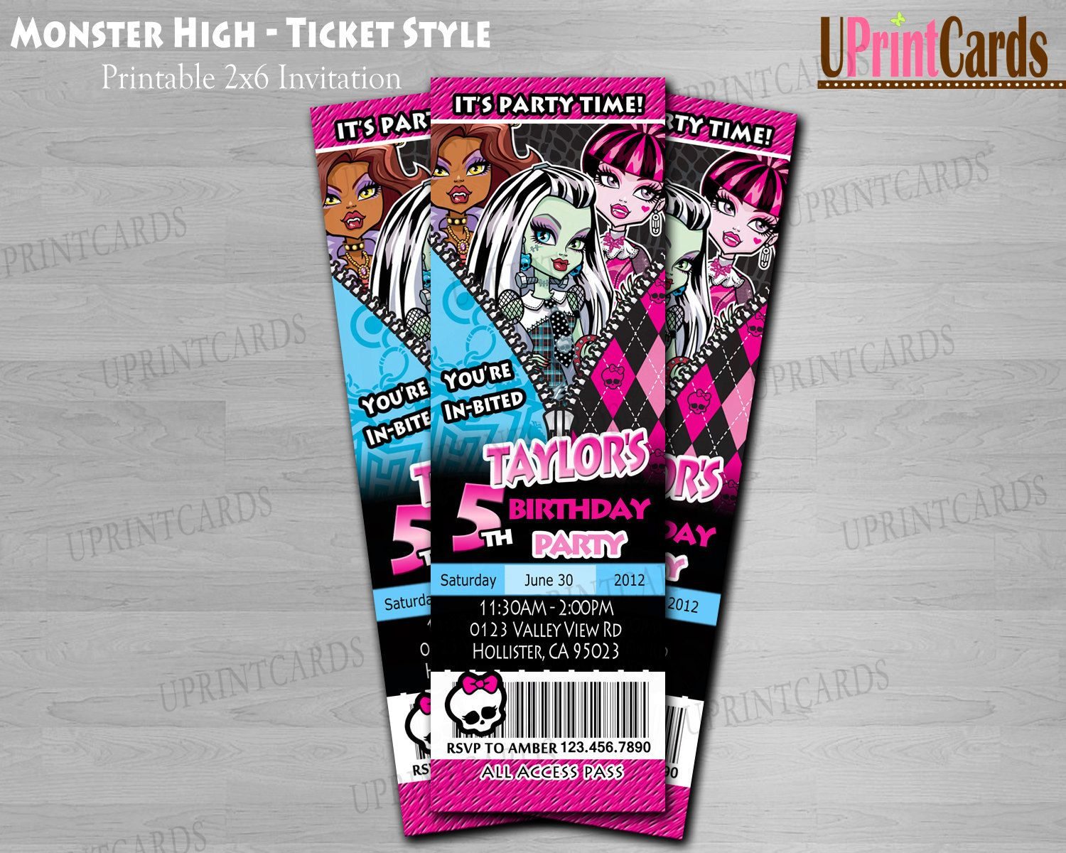 DIY Monster High - Birthday Party - Personalized Ticket Style ...