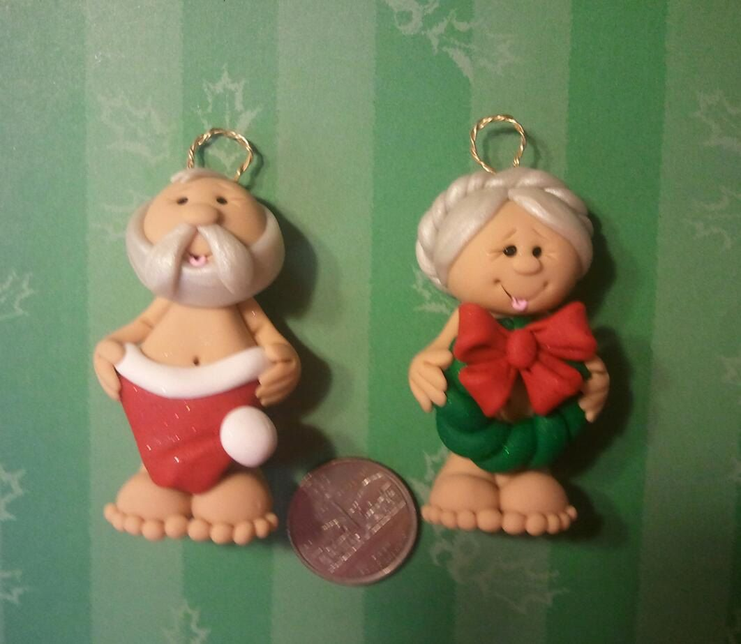 Mr and mrs claus ornaments - Naughty Mr Mrs Claus Polymer Clay Ornament Set 22 00 Via Etsy