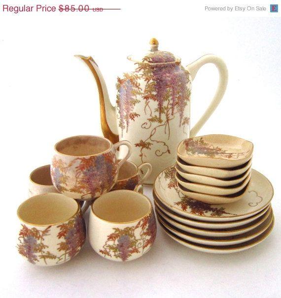 SALE Vintage Full Tea Satsuma Set Japan Jape by Jape on Etsy, $68.00