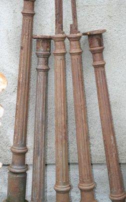 Five Small Decorative Cast Iron Columns