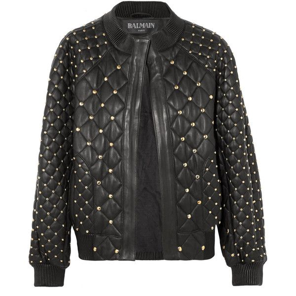 Balmain Studded quilted leather bomber jacket found on