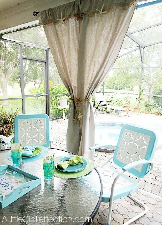 Beach Inspired Patio Curtains From A Drop Cloth!