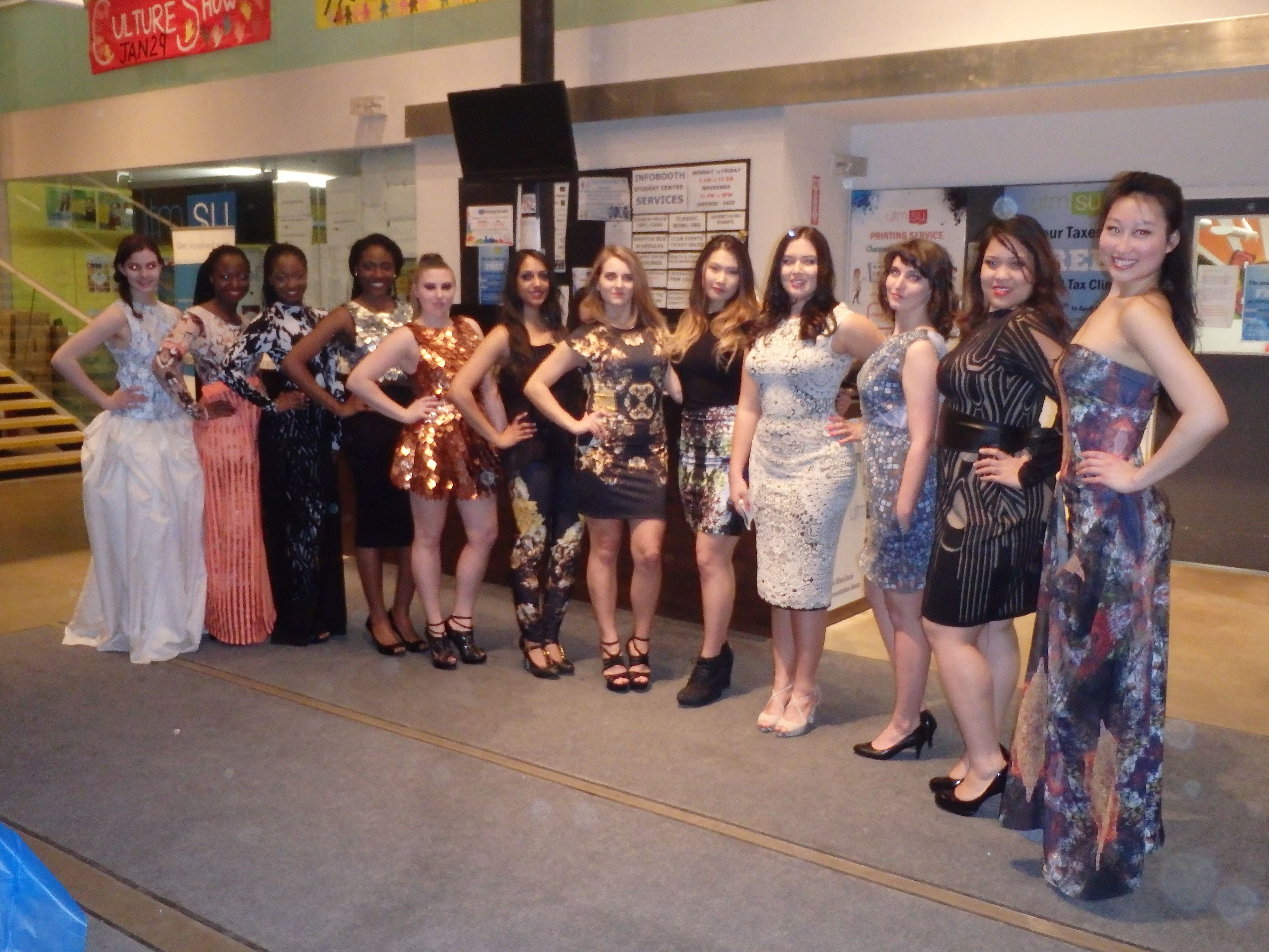 Lesley Hampton Designs, modelling several of her pieces for charity fashion/dance show Style And Profyle at UTM