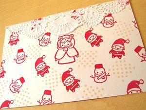 消しゴムはんこ・スタンプ クリスマスカード サンタと、雪だるまと、うさずきん