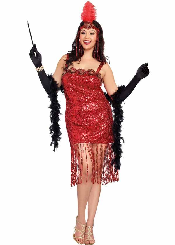 0732ee31eaa Red hot jazz singer or flapper era roaring twenties plus size costume
