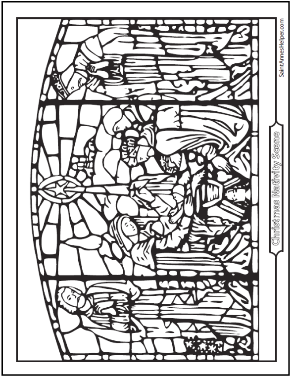 Stained Glass Nativity Coloring Page The Birth Of Jesus Holy Family