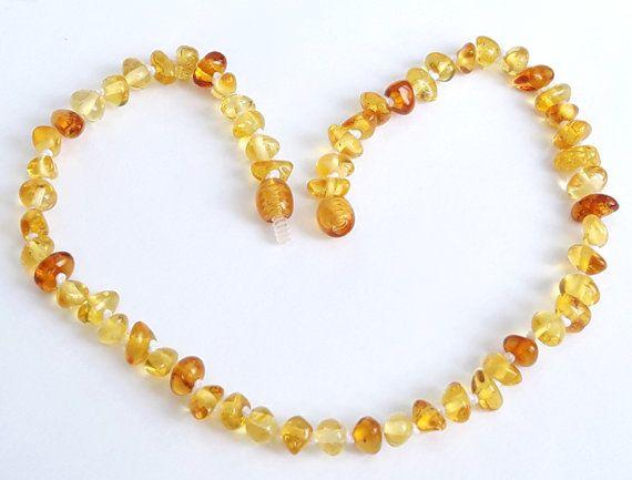 Lemon Cognac Amber Infant Teething Necklace Amber Beads