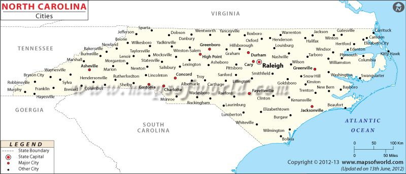 North Carolina Cities Map | Handy To Know | North carolina map ...