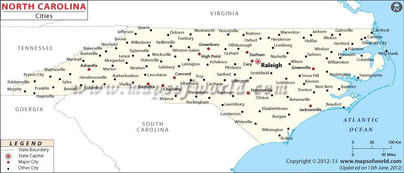 North Carolina Cities Map | North carolina map, Cities in ...
