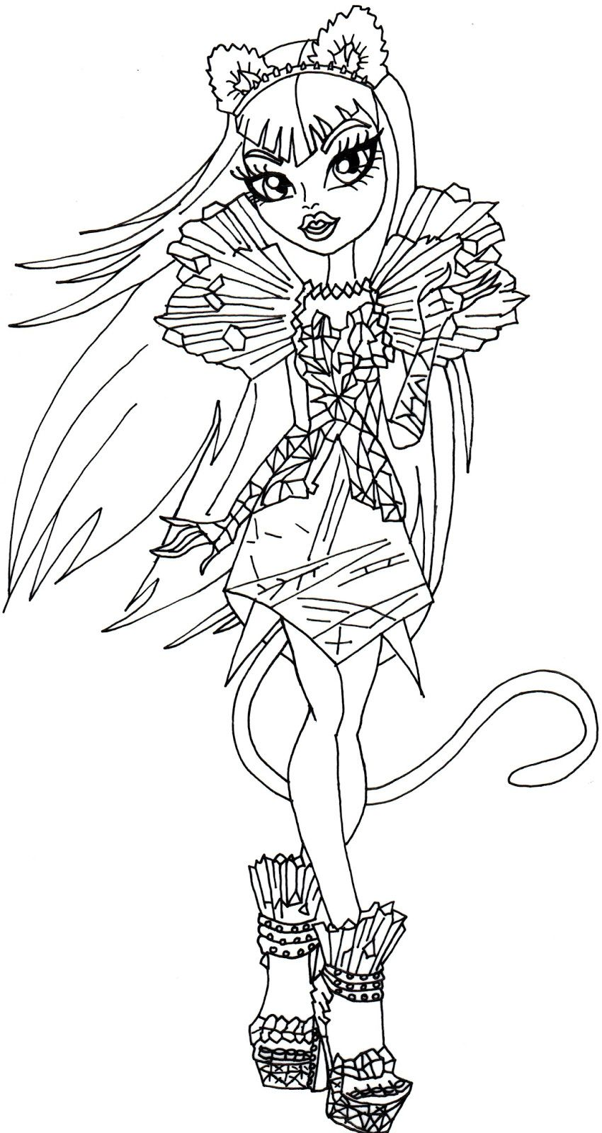 Monster High Coloring Pages Beautiful Catty Noir Boo York Monster